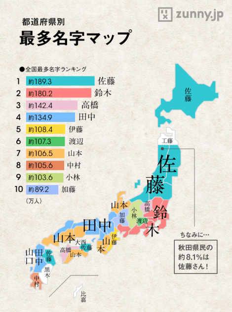 Plenty of Nothing: Japanese Surnames Map
