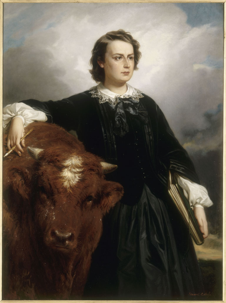Rosa_Bonheur_with_Bull_ _by_E_L_Dubufe